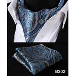 Paisley-Floral-Hommes-Soie-Cravate-Ascot-Cravate-Mouchoir-Set-B3-Partie-Classique-Poche-Carr-De-Mariage