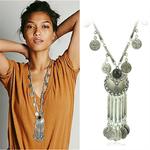 Boh-me-Vintage-Coin-Long-pendentif-collier-cha-ne-en-argent-Gypsy-Tribal-ethnique-bijoux-en