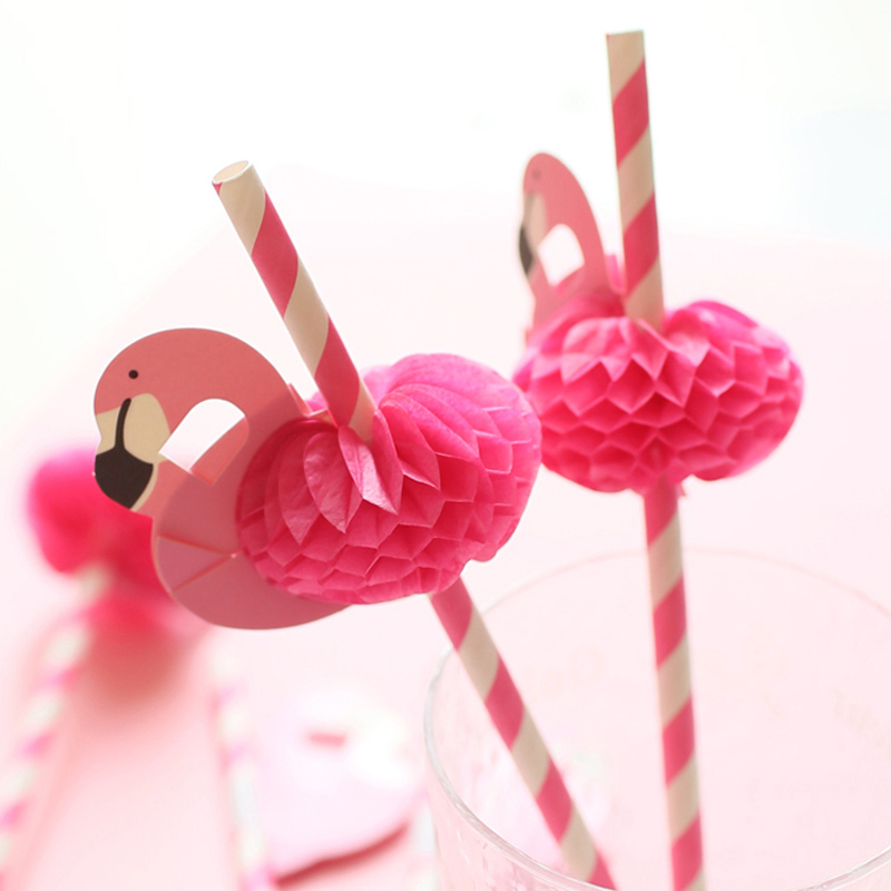 F-te-d-anniversaire-D-corations-Enfants-20-Pcs-Flamingo-Pailles-Flexible-En-Plastique-Potable-De
