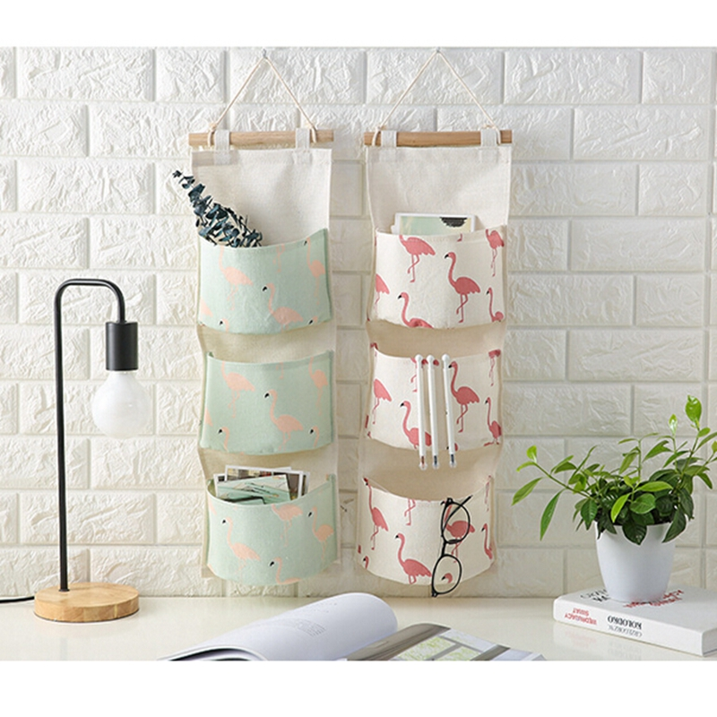 IHOMEE-Flamingo-Coton-Lin-Hanging-Sac-De-Rangement-3-Poches-Mur-Mont-Armoire-Accrocher-Sac-Mur