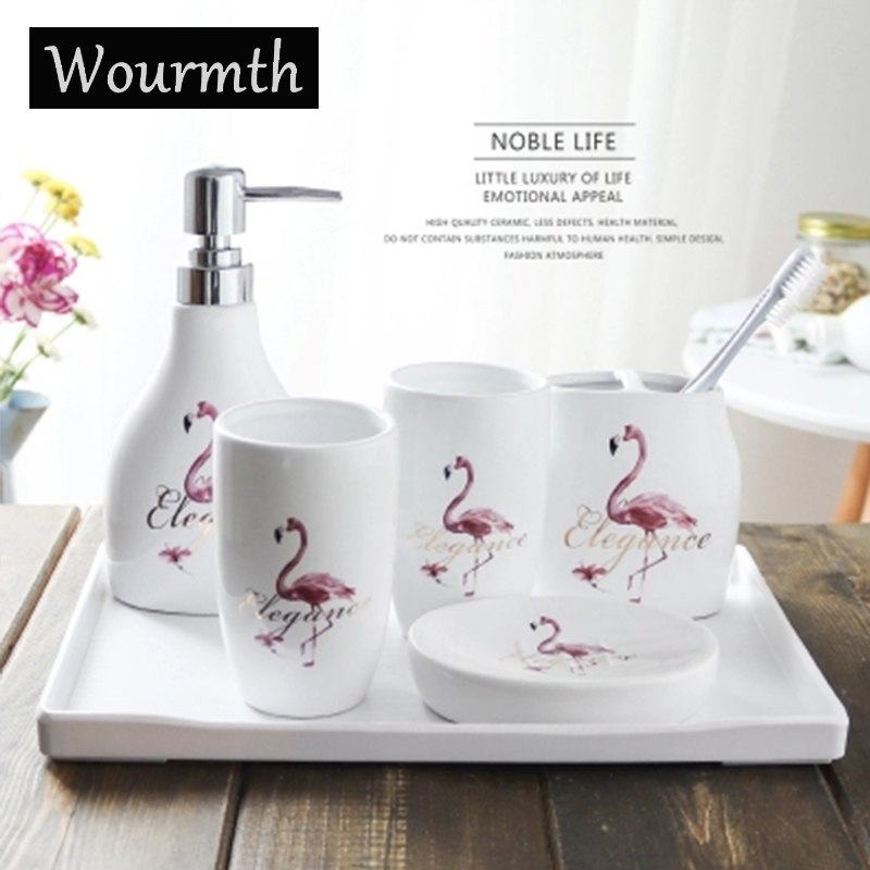 Wourmth-Chine-En-C-ramique-Salle-De-Bains-set-6-pcs-Avec-plateau-porcelaine-Creative-Flamant
