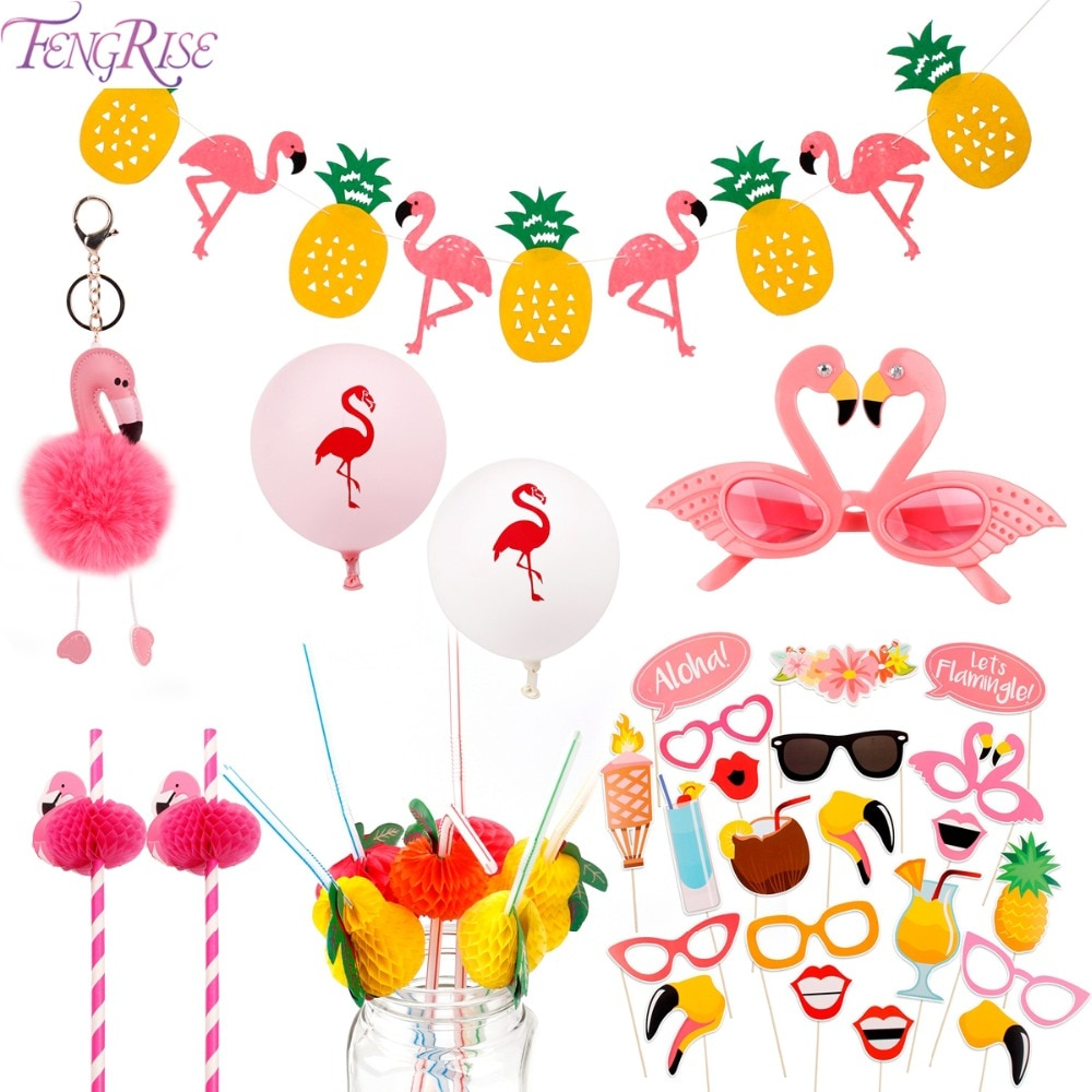 FENGRISE-Rose-anniversaire-d-coration-mariage-v-nement-Rose-flamant-Rose-f-te-premier-anniversaire-b