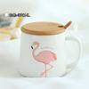 350-ml-Mignon-Rose-Flamant-C-ramique-Caf-Tasse-avec-Couvercle-et-Cuill-re-Caf-Th