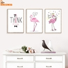 Rose-Flamingo-Cours-Wall-Art-Toile-Peinture-Nordique-Affiches-Et-Gravures-Animaux-Mur-Photos-Pour-Salon