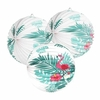 Flamant-Tropical-Summer-Party-D-coration-3-pcs-9-Accord-on-Papier-Lanternes-avec-Feuilles-de
