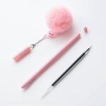 Stylo-flamant-rose-Balle-En-Peluche-0-5mm-Noir-Stylos-pour-l-cole-Chancellerie-gel-stylo