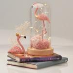 D-cor-pour-La-Maison-Rose-Flamingo-avec-Roses-Fleurs-Artificielles-LED-Lumi-re-en-Verre