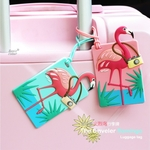 Super-Bande-dessin-e-Animaux-Flamant-Bagages-Tag-Silicone-Valise-ID-Adresse-Titulaire-Bagages-D-embarquement