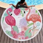 GRIDILANGO-Rond-Serviette-De-Plage-avec-le-Gland-Rose-Flamingo-Feuille-De-Palmier-Fleur-serviette-microfibre