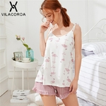Vilacoroa-Flamingo-Imprimer-Cami-Top-et-short-ray-PJ-D-finit-t-De-Courroie-De-Gaine