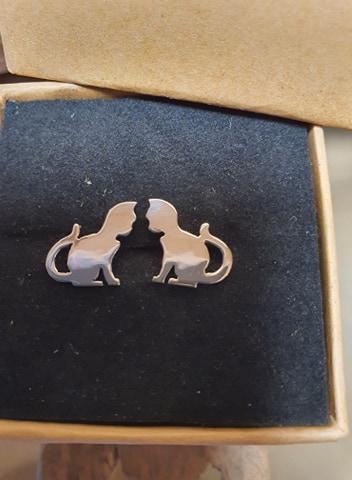 Boucles d\'oreilles chat en argent 925/1000.