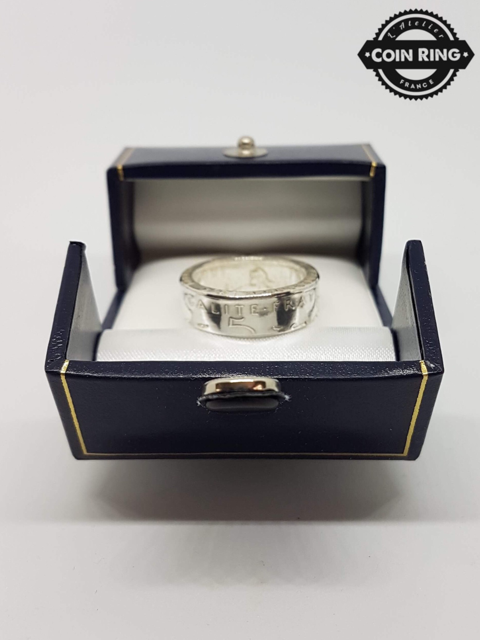 Anneau Coin Ring 5 Francs Semeuse Argent.