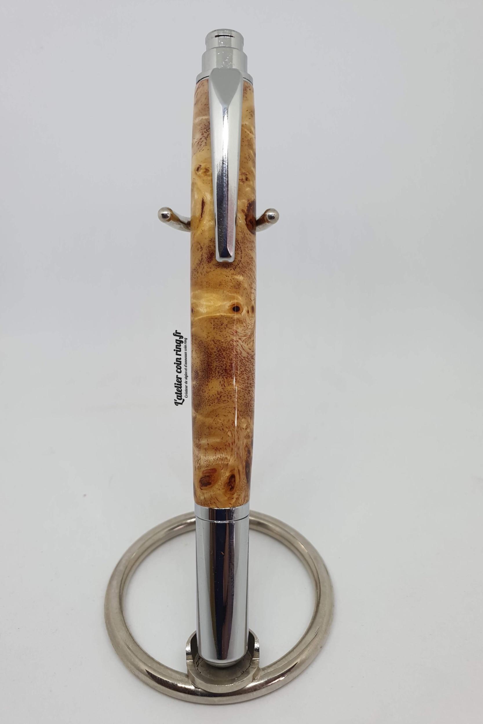 Stylo en bois de loupe de peuplier roller - Modèle Céline