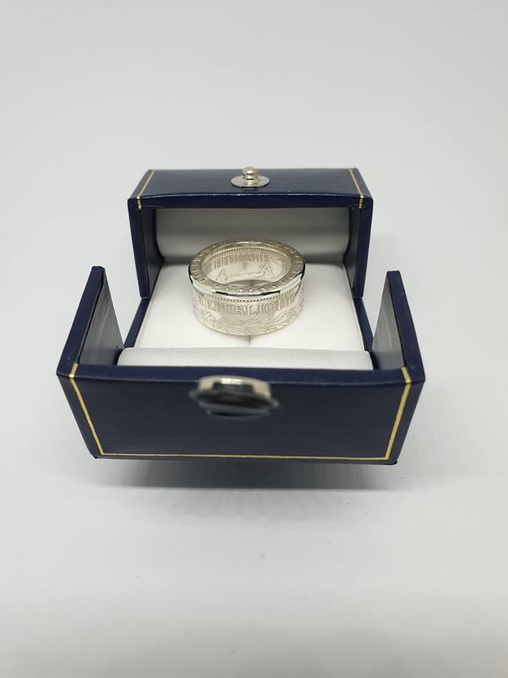 Anneau coin ring 10 Francs Hercule argent
