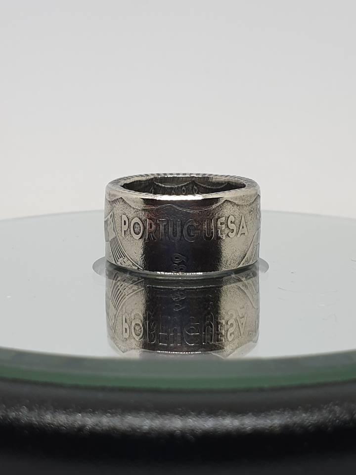 Anneau coin ring 50 Escudos argent.