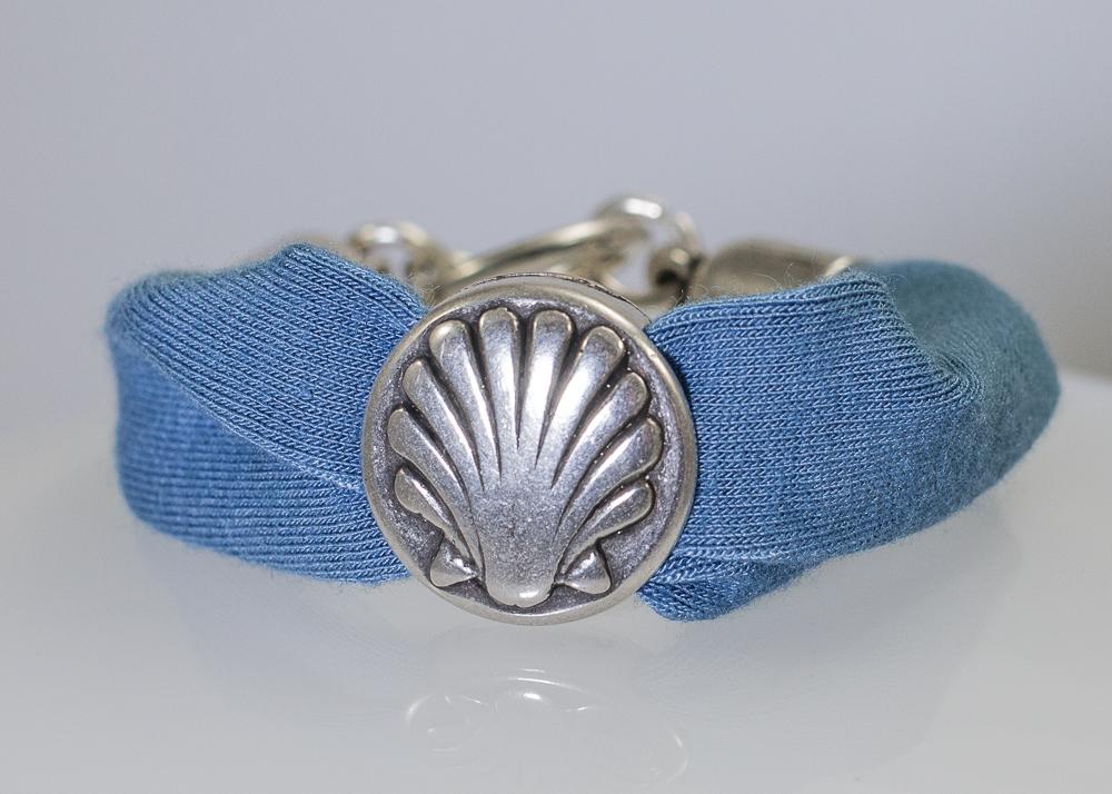 Bracelet pastel maille motif st Jacques
