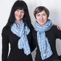Echarpe carreaux gaufrée en lin et coton
