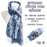 """Spécial Fête des Mères Chèche """"Jardin bleu"""" + Masque assorti"""