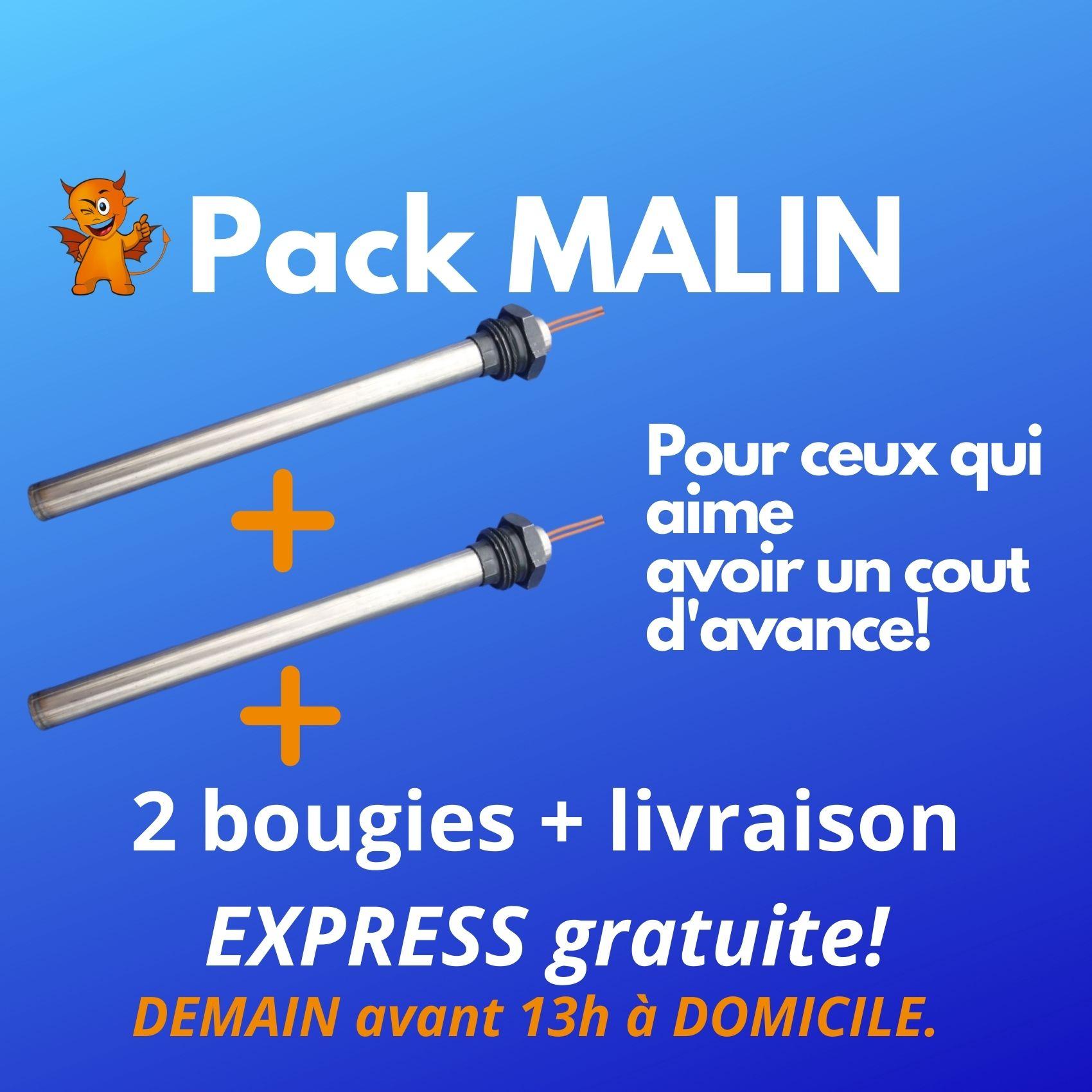 PACK MALIN : 2 BOUGIES + livraison express demain avant 13h en RELAIS, GRATUITE !