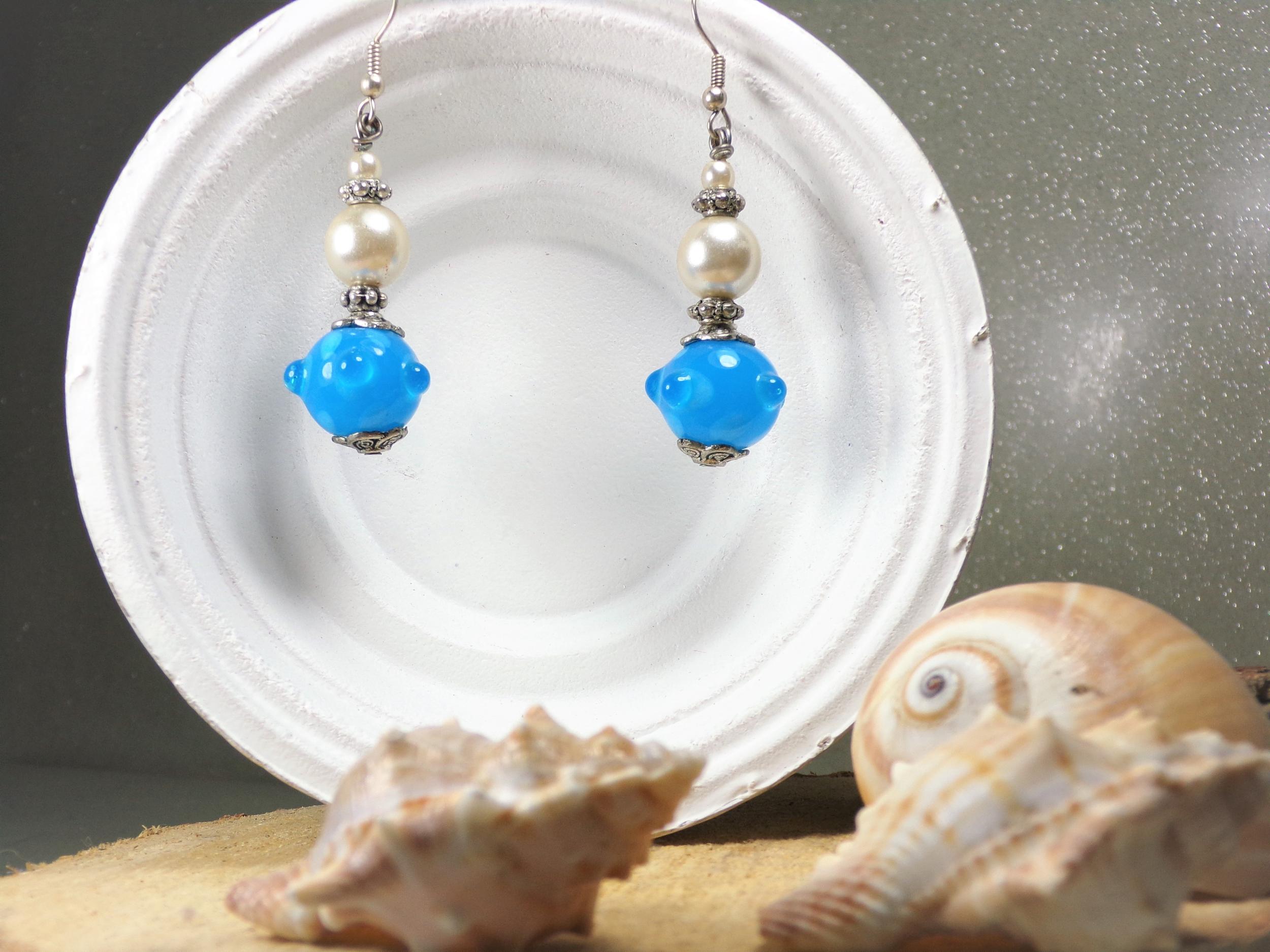 bijoux oreilles perles bleu fait main