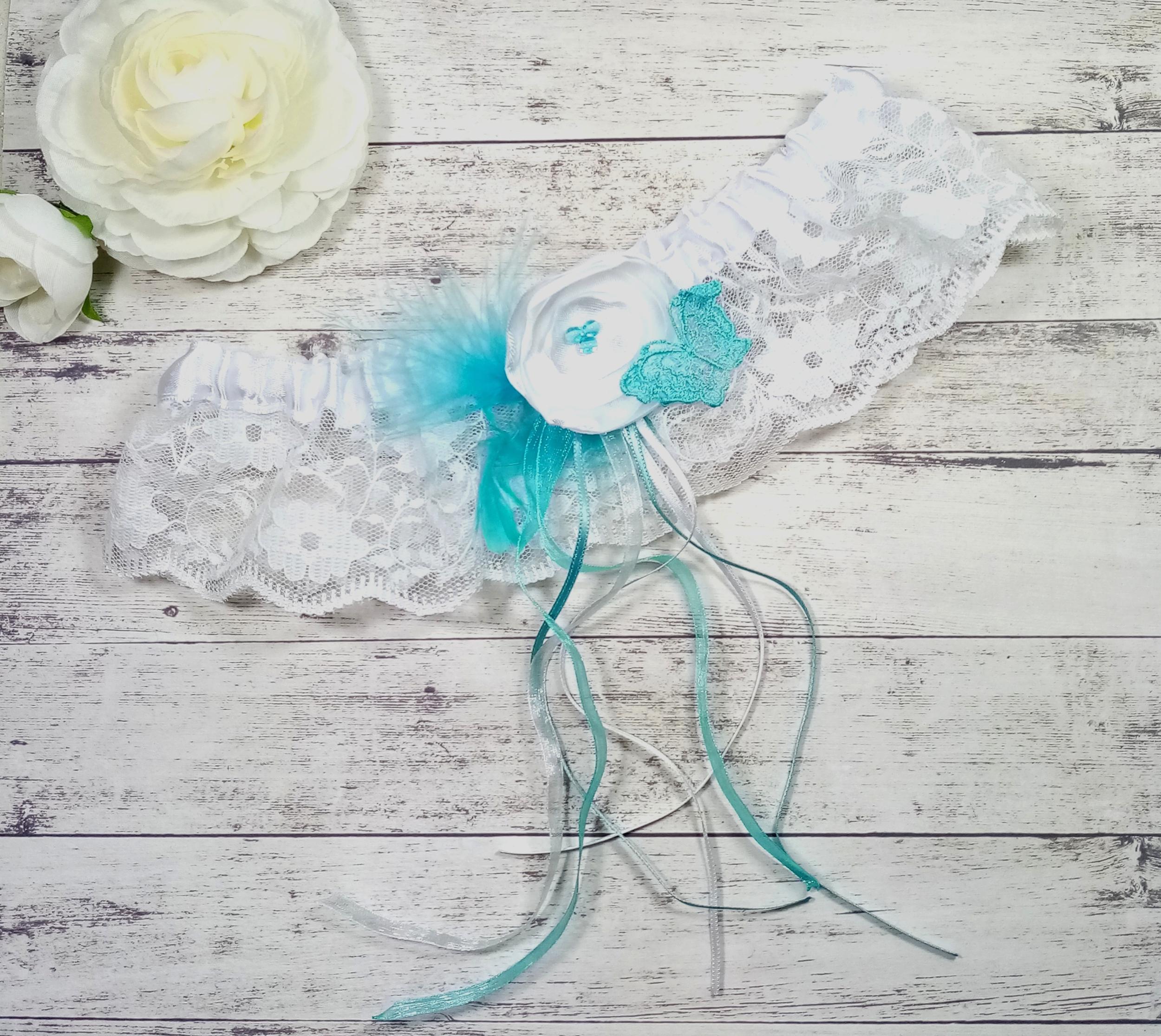 Jarretière mariée papillon plume mariage turquoise blanc personnalisé