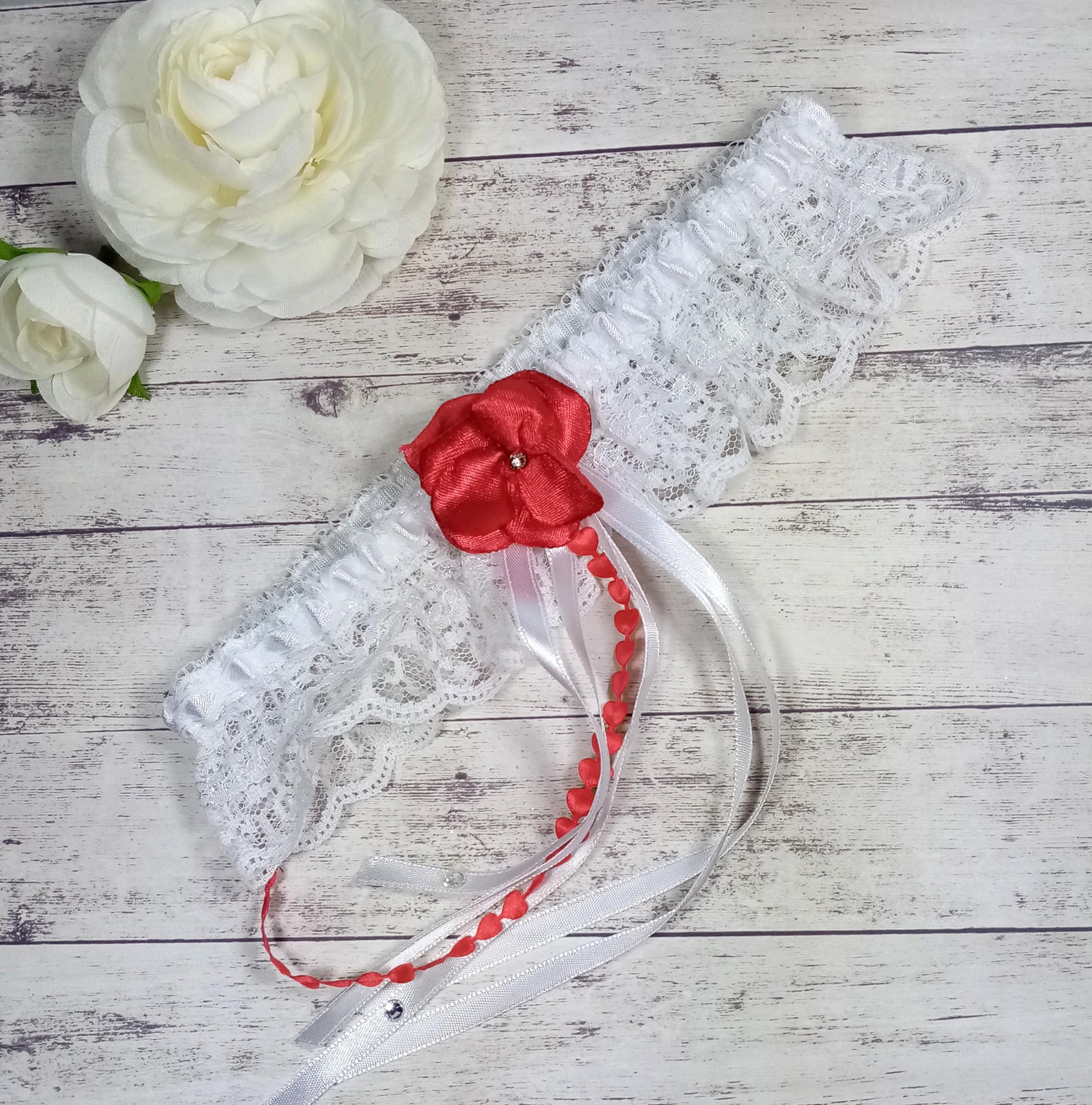 Jarretière de mariée dentelle strass mariage rouge et blanc