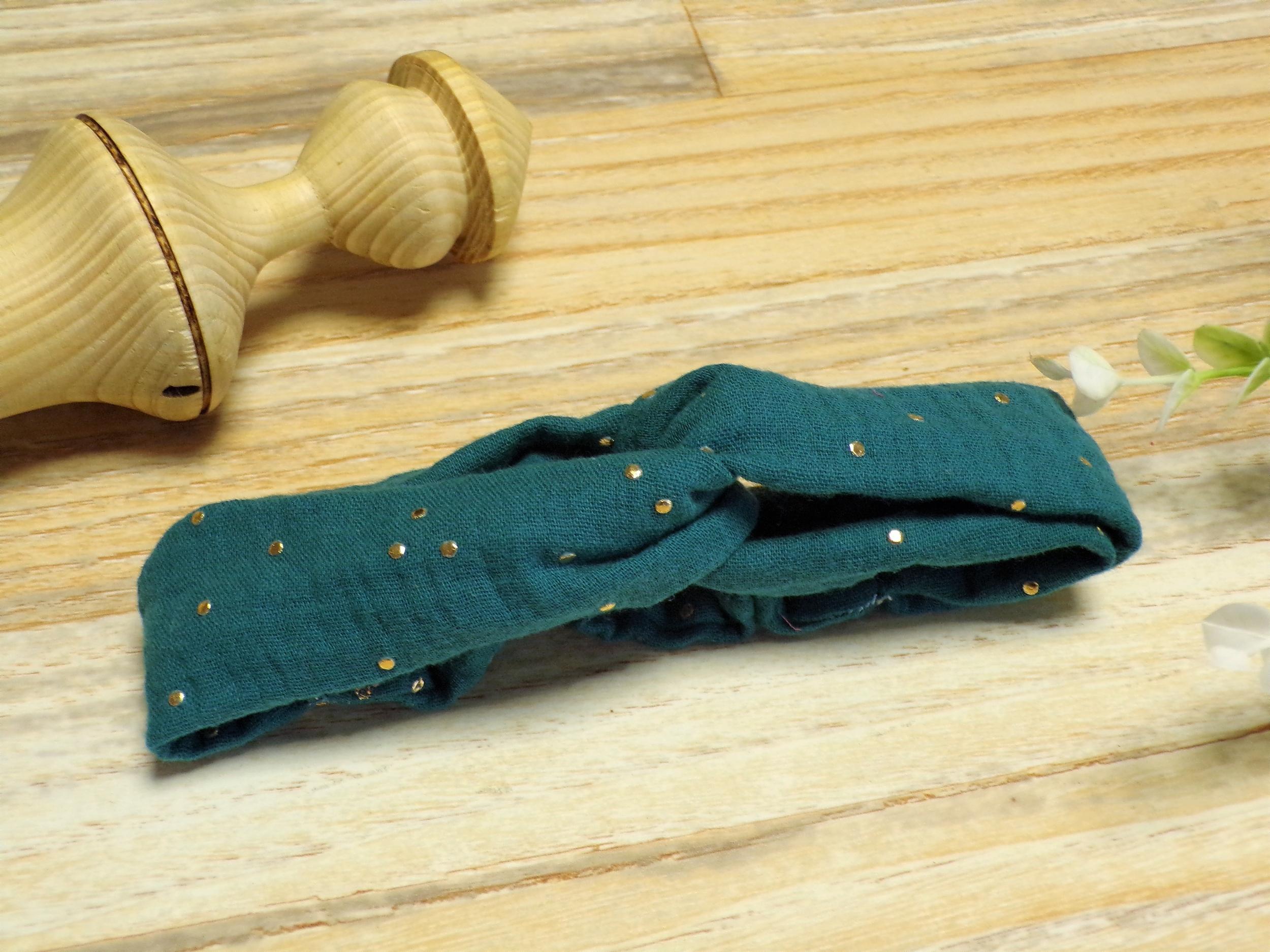 bandeau cheveux bébé élastique émeraude doré personnalisé