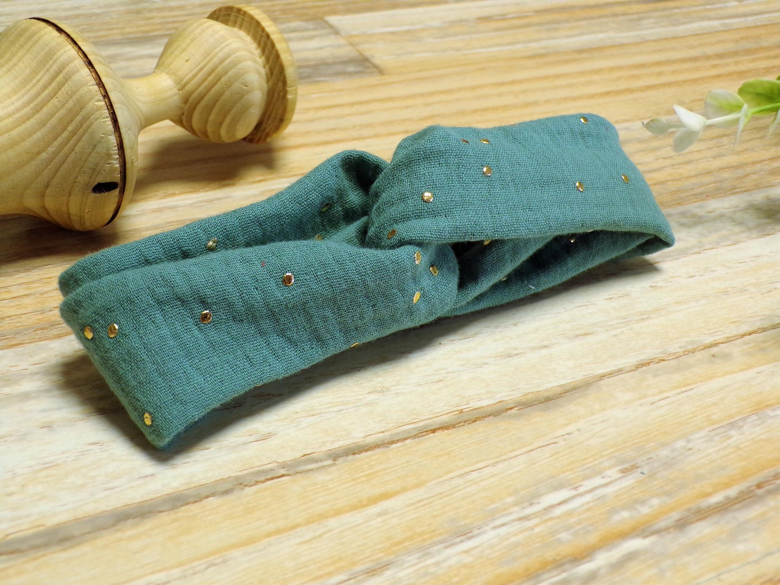 Bandeau cheveux bébé fille vert eucalyptus élastique fait main