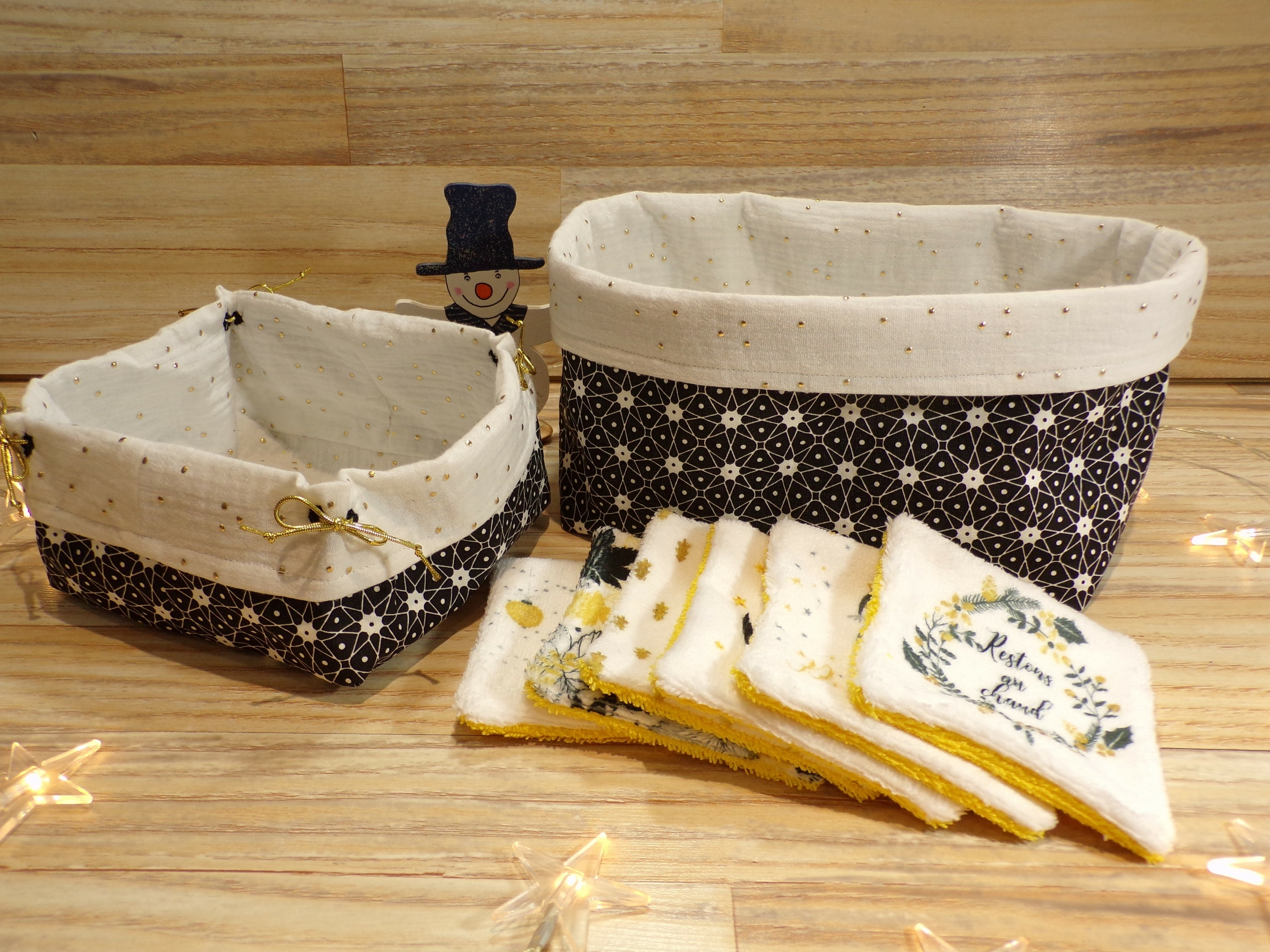 Corbeilles et lingettes lavables noir et doré fait main
