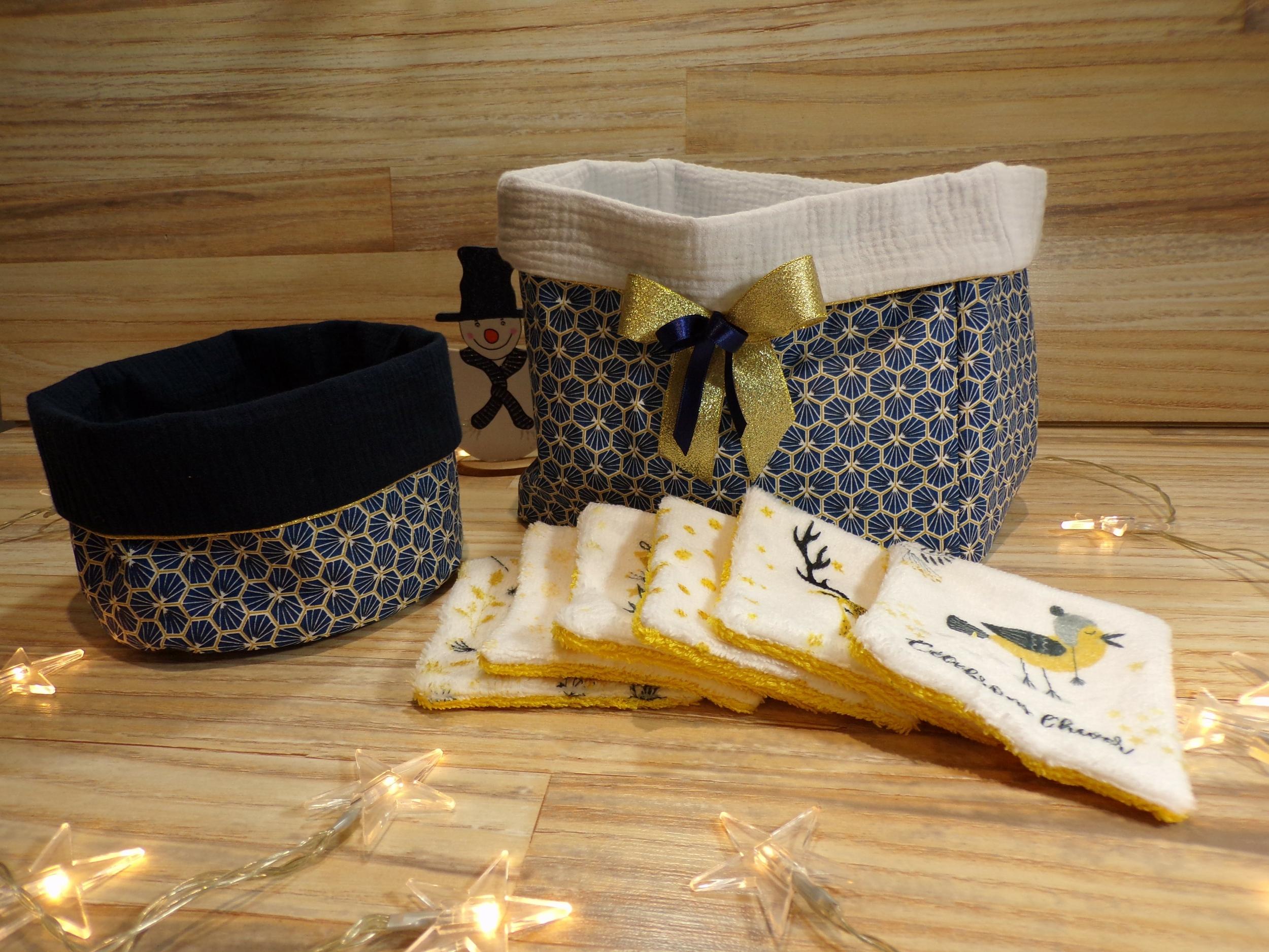 Corbeilles et lingettes lavables bleu royal et doré