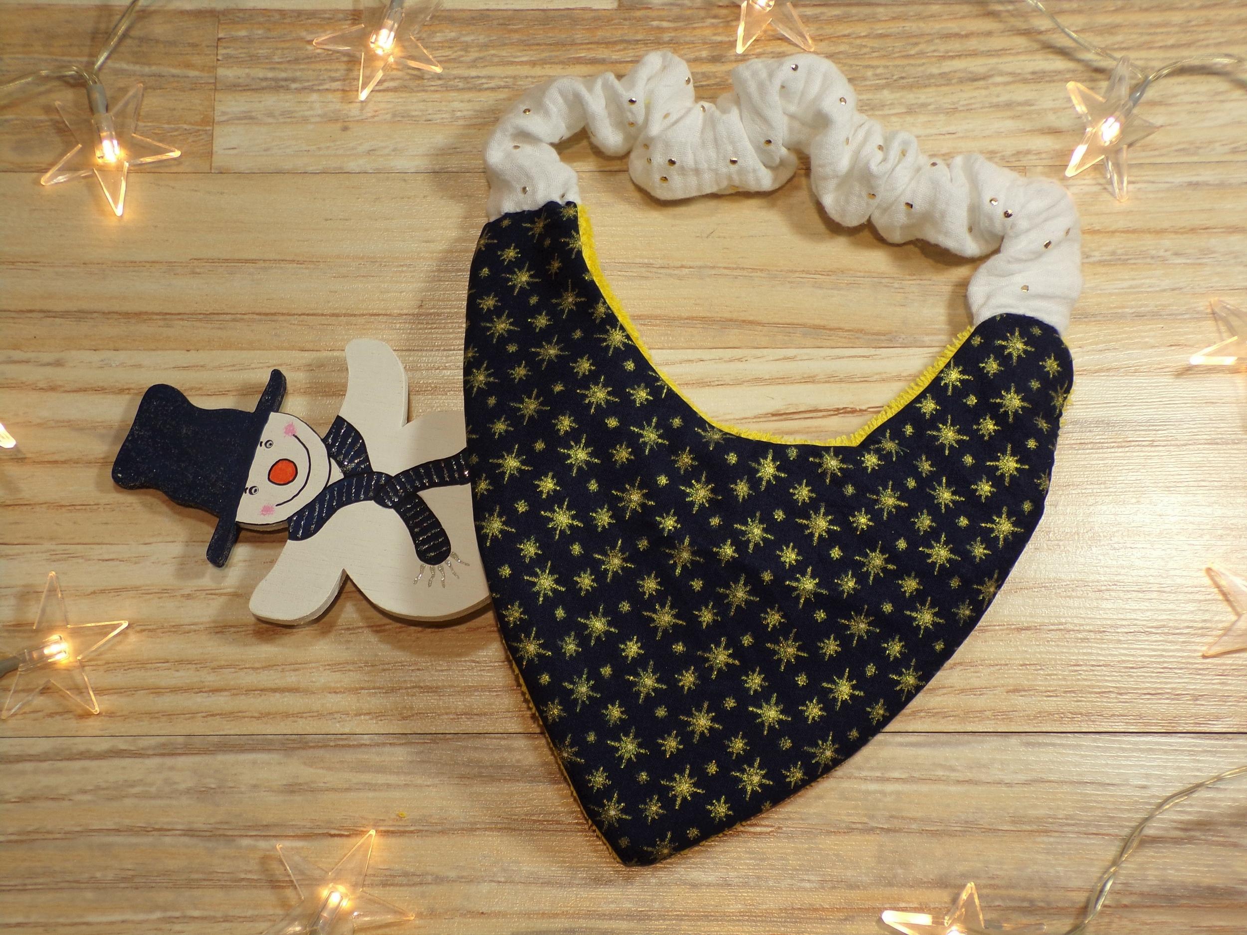 banvoir bandana élastique noël bleu marine et étoiles dorées