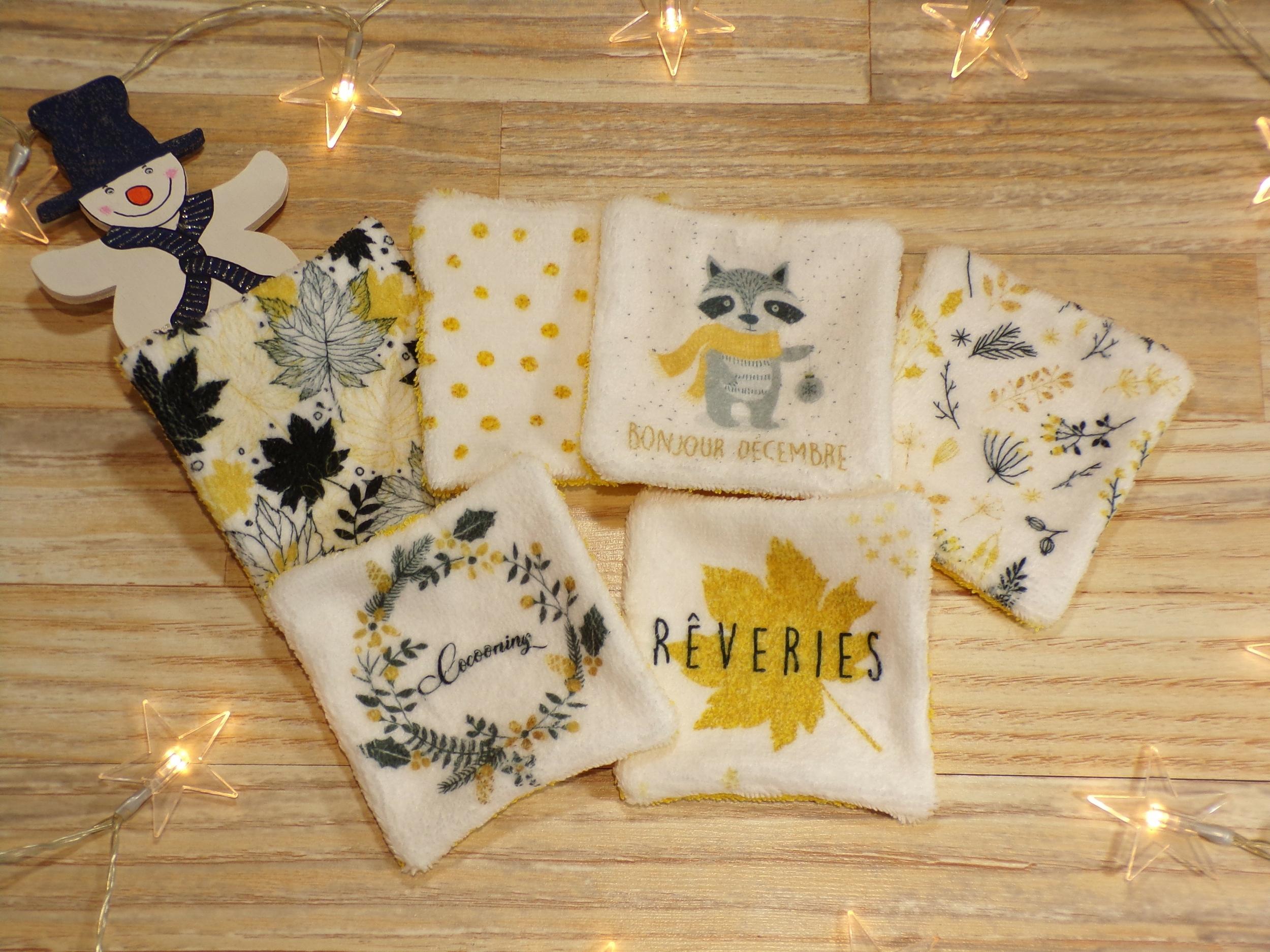 Lingettes lavables en coton bébé femme thème hivernal