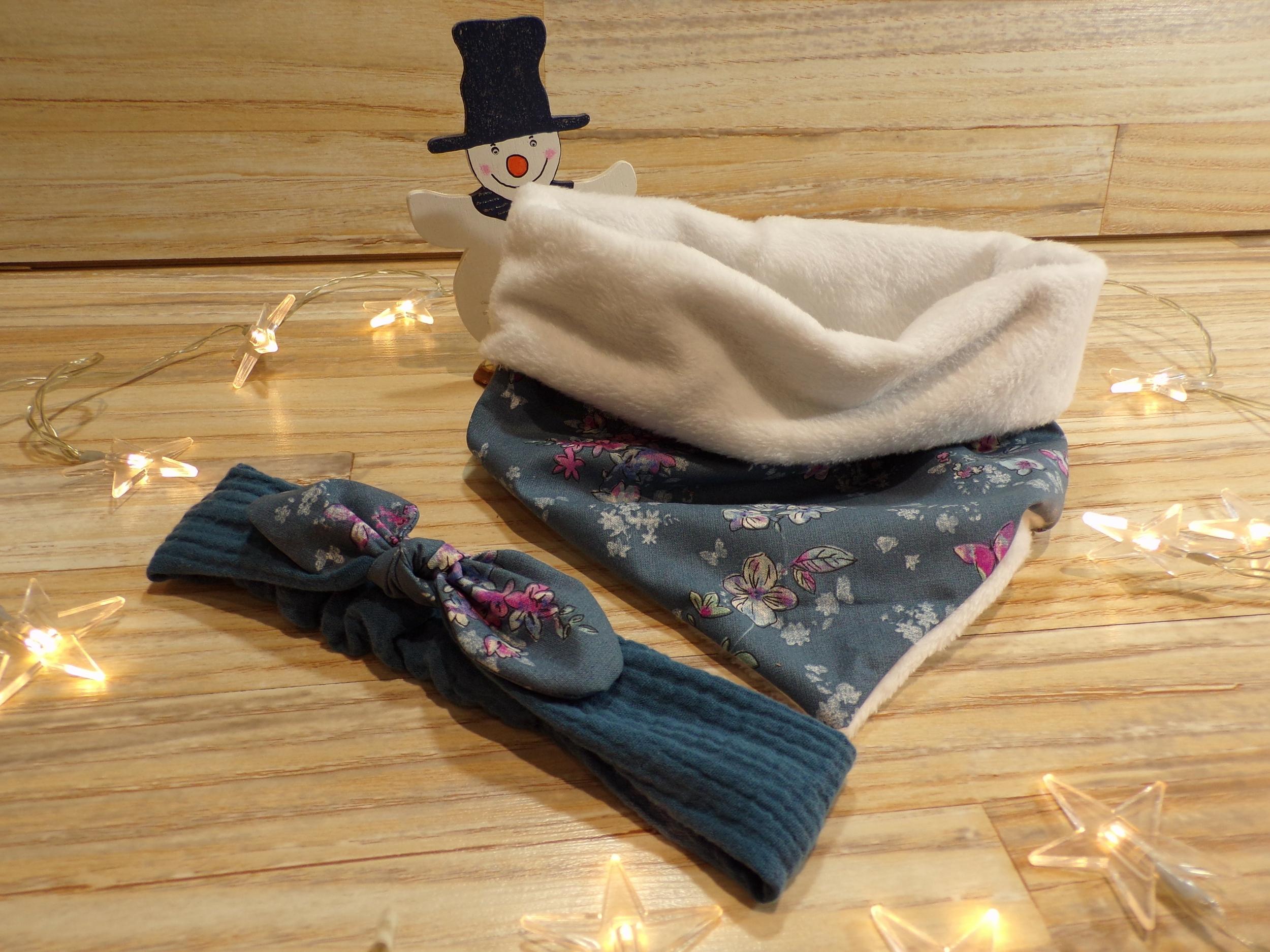 Snood chèche bleu et blanc et bandeau de cheveux gaze de coton