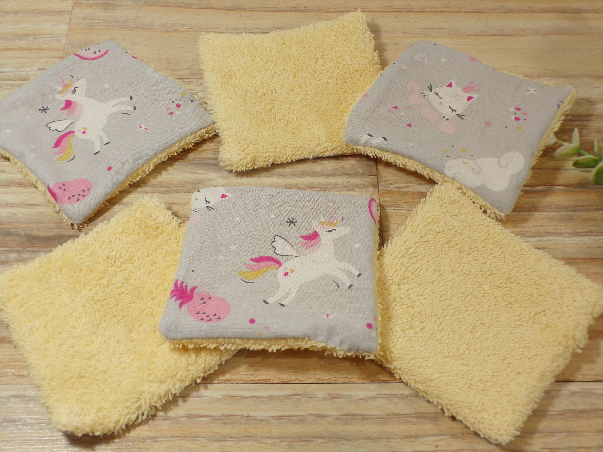Lingettes lavables bébé licorne lot de 6