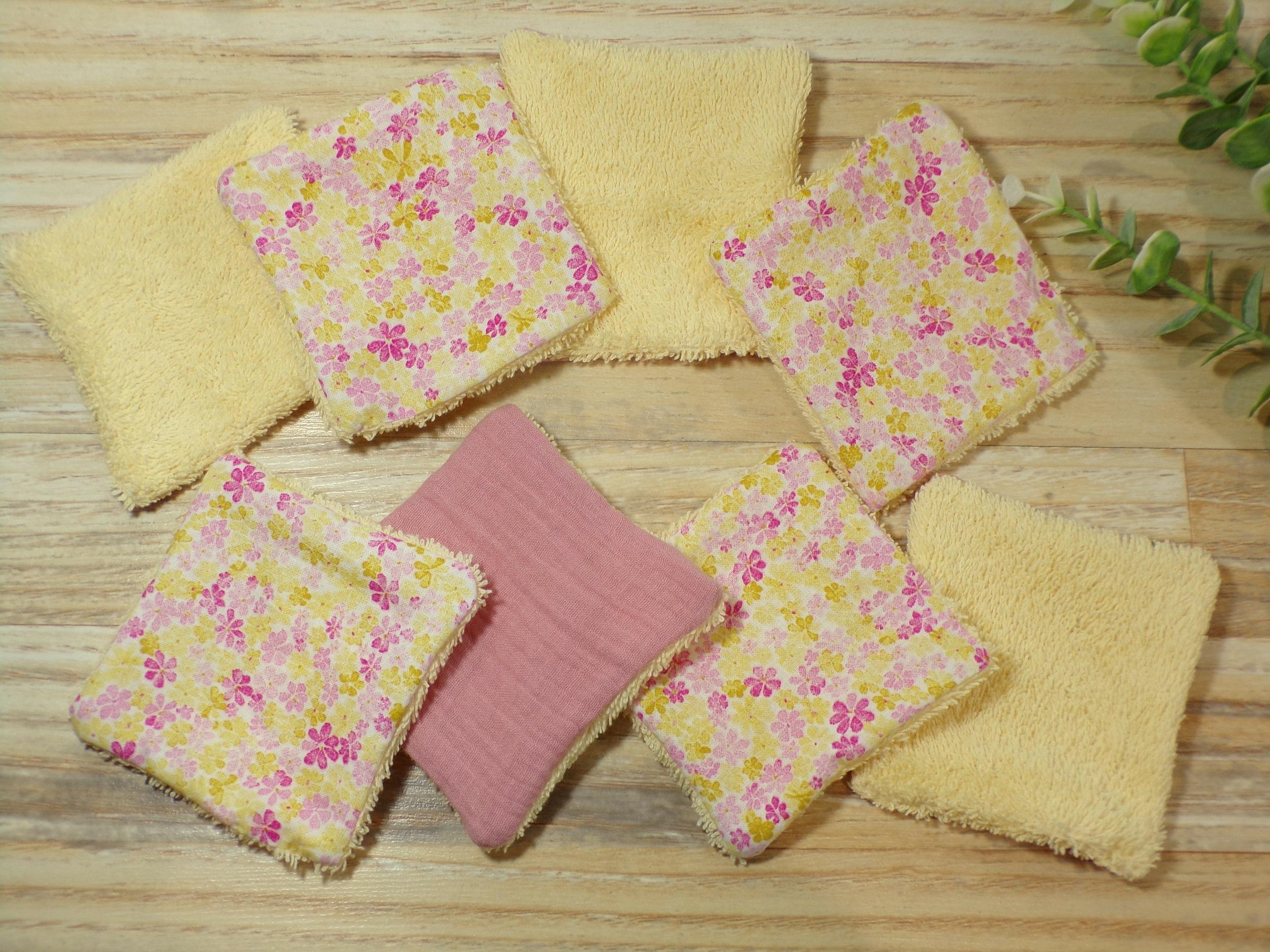lingettes lavables bébé fille rose fleurs éponge bambou