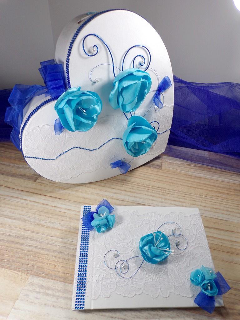 Urne coeur et livre d'or turquoise et bleu roi mariage personnalisé