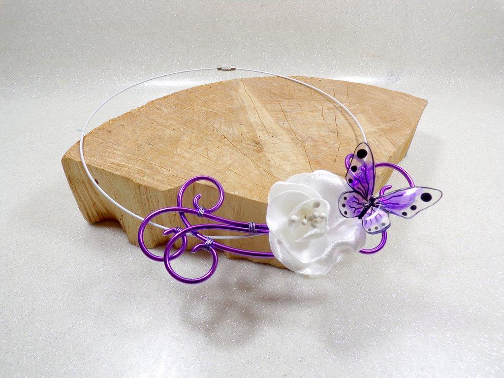 Collier papillon fil aluminium