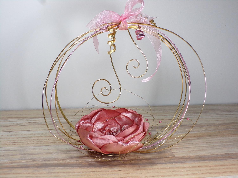 porte alliances rose gold panier fleurs mariage