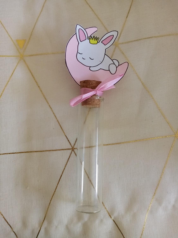 eprouvette bébé fille lapin princesse rose bapteme anniversaire