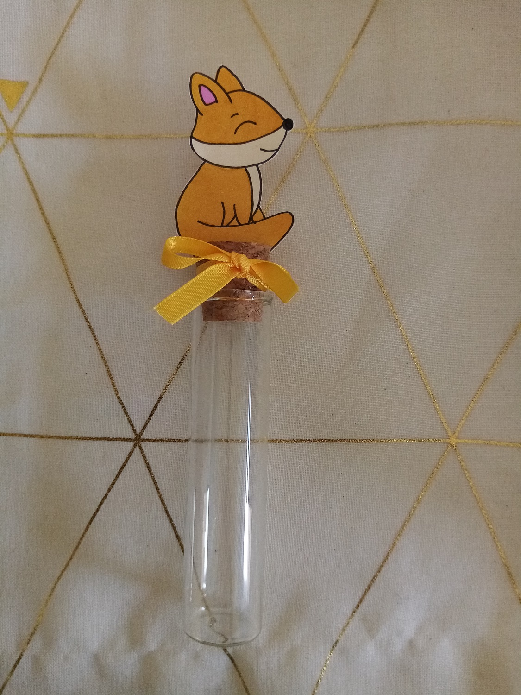 eprouvette dragées bébé renard baptême anniversaire contenant verre