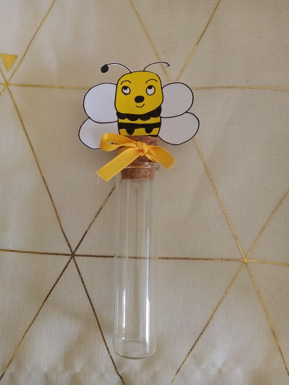 eprouvette dragees bébé abeille baptême anniversaire contenant verre fait main