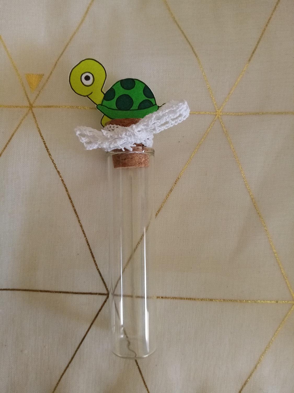 eprouvette dragees bebe tortue bapteme contenant verre personnalise fait main