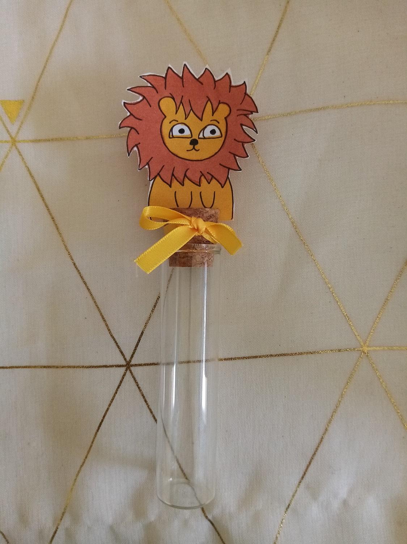 eprouvette dragees bébé lion bapteme savane personnalisé