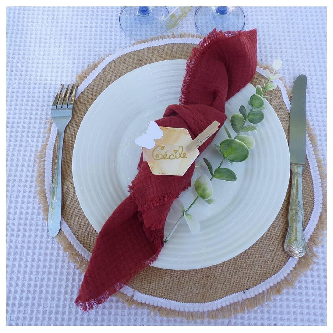 serviette de table terracotta franges tissu