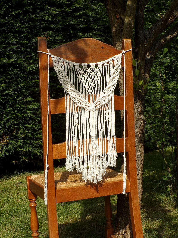 décoration chaise mariage boheme champetre macramé