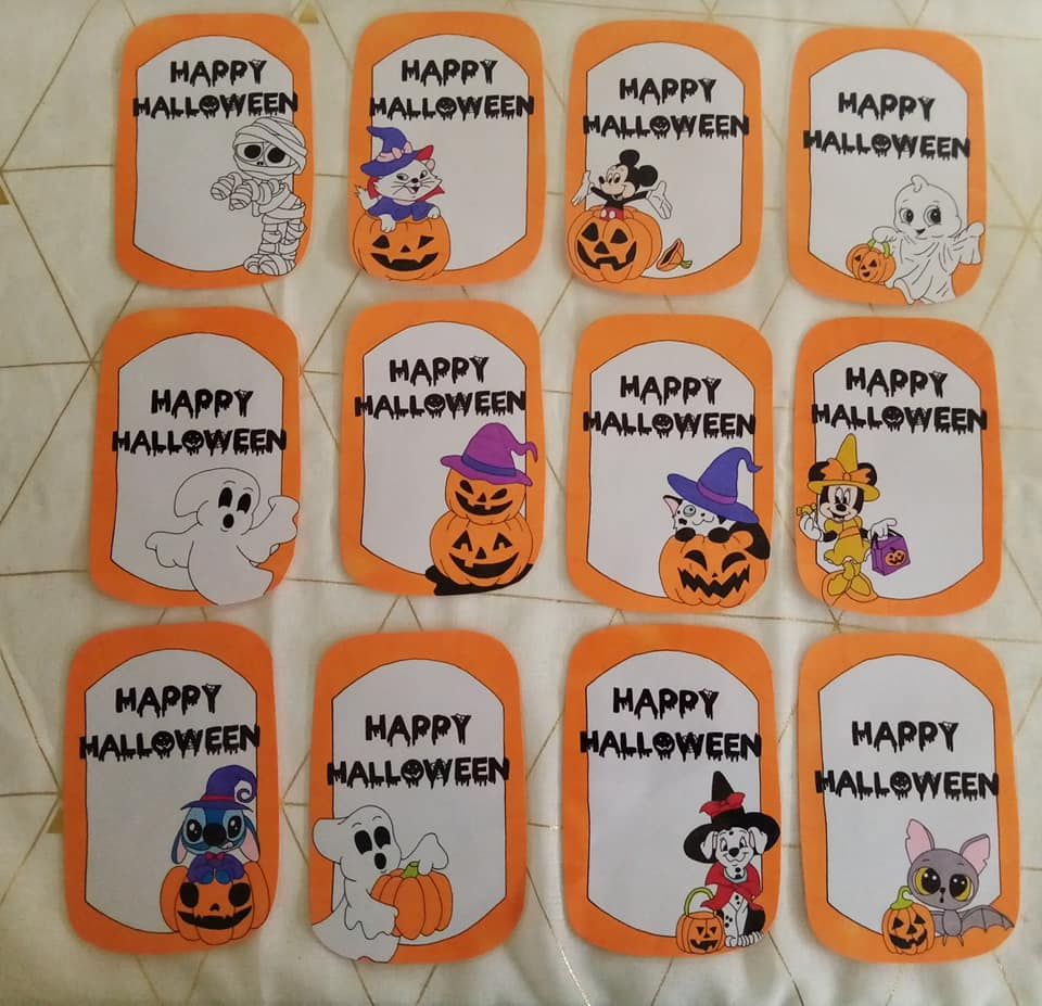 collection halloween carte étapes photo souvenir fait main