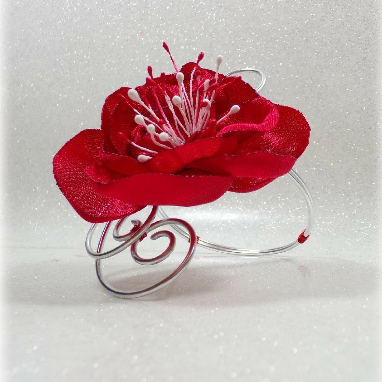 Bracelet fleur mariage fil aluminium