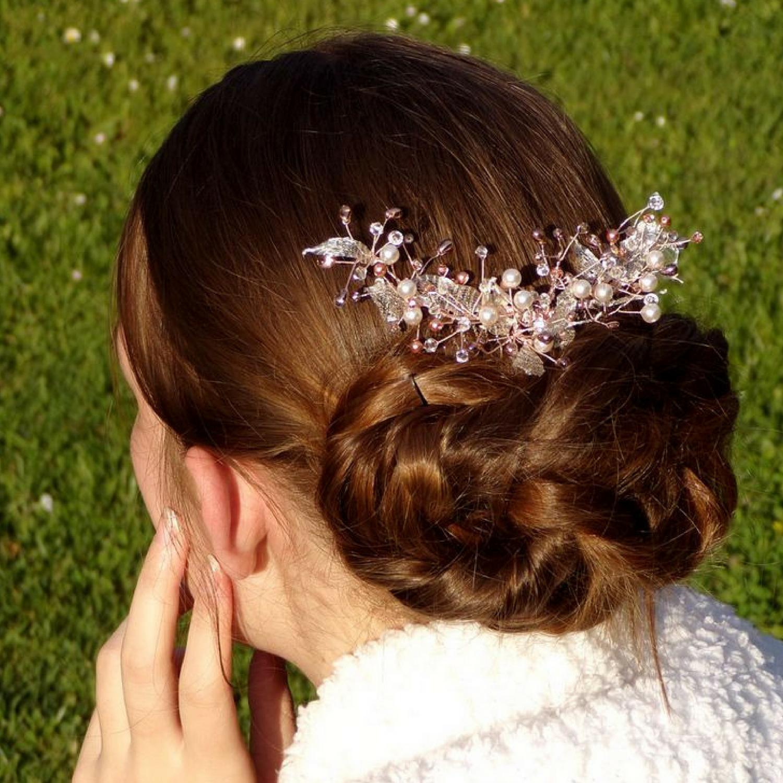 Peigne à cheveux mariage rose gold Swarovki