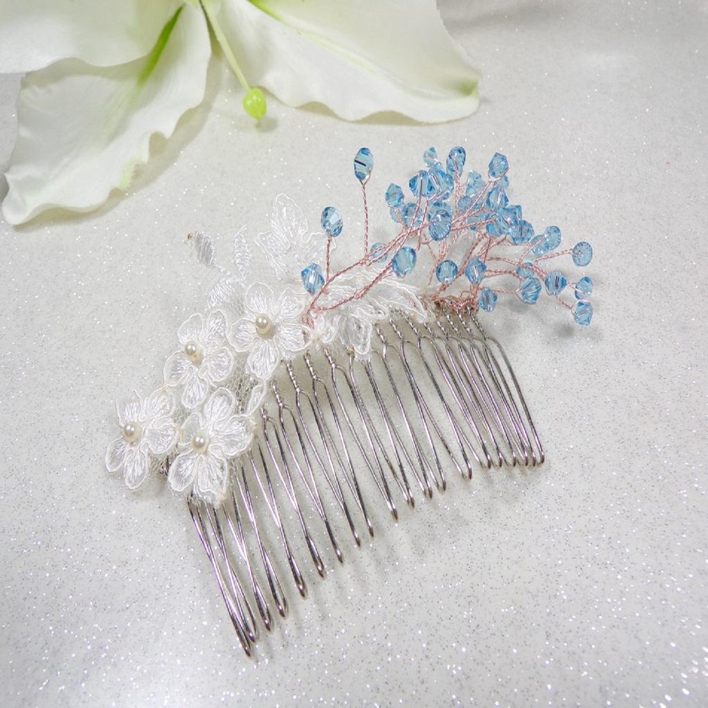Peigne à cheveux mariée Swarovski dentelle de Calais