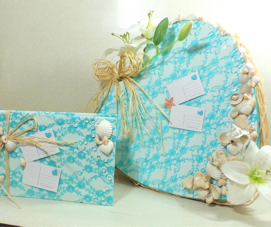 Urne et Livre d\'or mariage thème la mer coquillage et dentelle